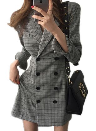 Plaid Buttons Long Sleeve Above Knee A-line Dress
