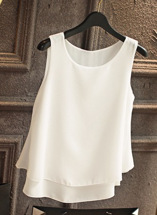 Solid Casual Polyester Round Neckline Sleeveless Blouses