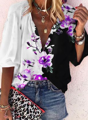 Floral Casual Collar Half Sleeve Blouses (147049066)
