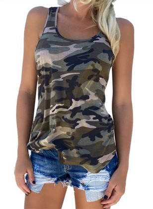 Polyester Round Neck Sleeveless Sexy T-shirts & Vests
