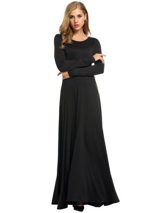 Chiffon Solid Long Sleeve Maxi Dresses