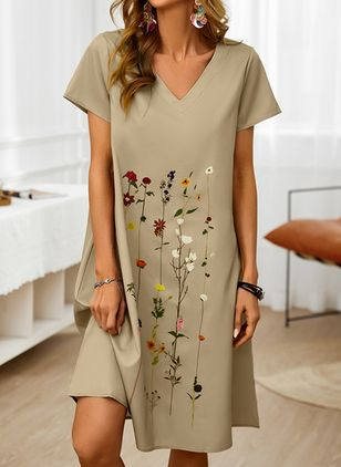 Casual Floral Tunic V-Neckline A-line Dress (146859558)