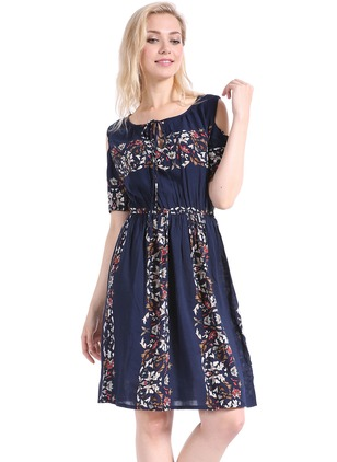 Floral Wrap Short Sleeve Above Knee A-line Dress