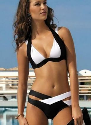 Plus Size Polyester Color Block With Rim Bikinis Plus Size Swimwear Swimwear