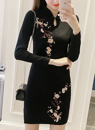 Polyester Others Floral Tight Long None Sweaters