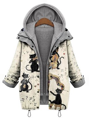 Long Sleeve Hooded Buttons Zipper Pockets Coats (146703671)
