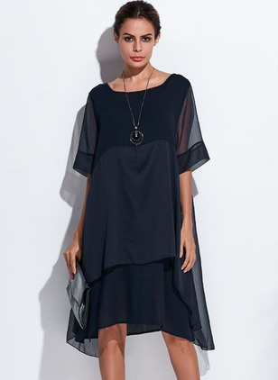 Casual Solid Round Neckline Knee-Length Shift Dress (1398897)
