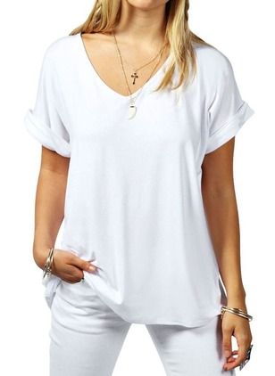 Solid Casual Cotton V-Neckline Short Sleeve Blouses