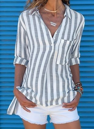 Stripe Casual Collar Long Sleeve Blouses (1347599)