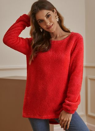 Round Neckline Solid Casual Loose Regular Shift Sweaters (122029246)