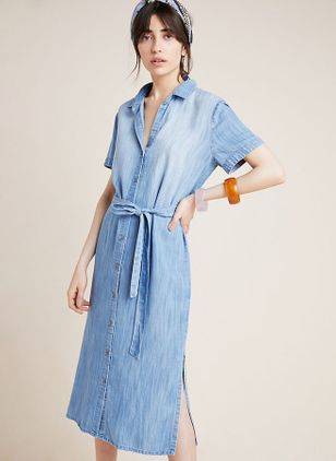 Solid Buttons Short Sleeve Midi X-line Dress