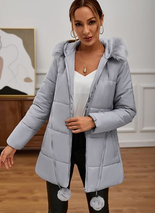 Long Sleeve Hooded Removable Fur Collar Padded Coats (122029203)