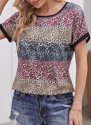 Leopard Round Neck Short Sleeve Casual T-shirts (147207934)