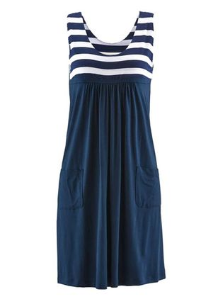 Casual Stripe Tank Round Neckline A-line Dress (146643210)