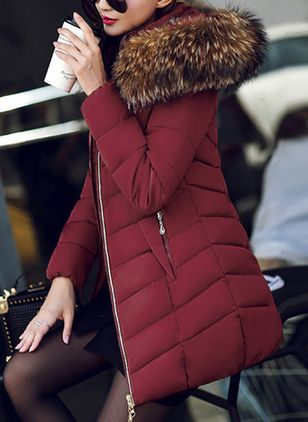 Long Sleeve Hooded Zipper Padded Coats (1382064)