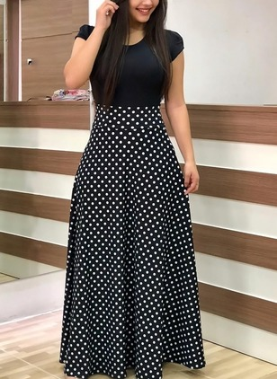 Polka Dot Cap Sleeve Maxi A-line Dress