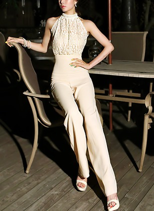 Nylon Solid 3/4 Sleeves Jumpsuits & Rompers