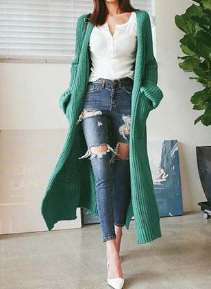 Long Sleeve Collarless Pockets Sweaters Coats (106821318)