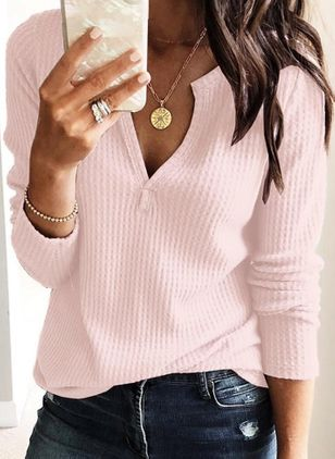 Solid Casual V-Neckline Long Sleeve Blouses (1509459)