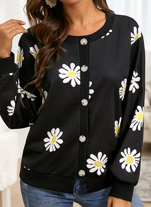 Round Neckline Floral Casual Regular Buttons Sweaters (146794887)