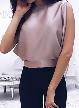 Solid Sexy Boat Neckline Sleeveless Blouses
