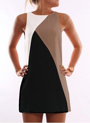 Polyester Color Block Sleeveless Above Knee Dresses