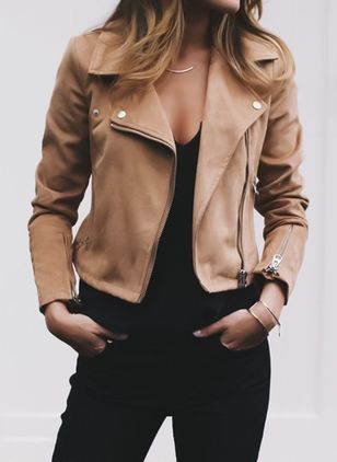 Long Sleeve Lapel Zipper Jackets