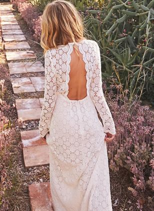 Solid Lace Long Sleeve Maxi X-line Dress