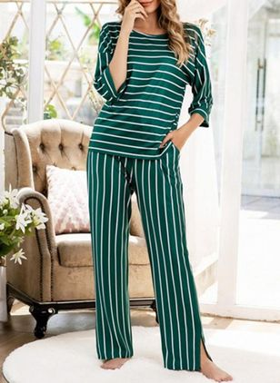 Round Neckline Stripe Pockets Loungewear (146700331)