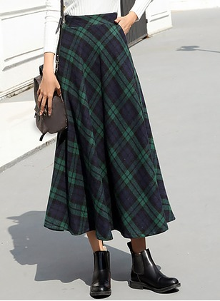 Wool Check Maxi Vintage Zipper Skirts