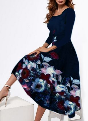 Casual Floral Round Neckline Midi A-line Dress (146722361)