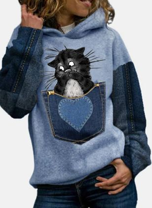 Animal Casual Round Neckline Sweatshirts (146781356)