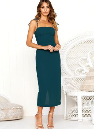 Solid Sleeveless Midi Sheath Dress