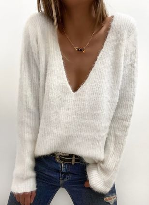 V-Neckline Solid Casual Loose Regular Shift Sweaters (146799285)