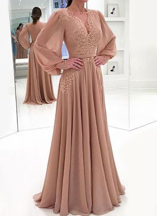 Elegant Solid V-Neckline Maxi X-line Dress