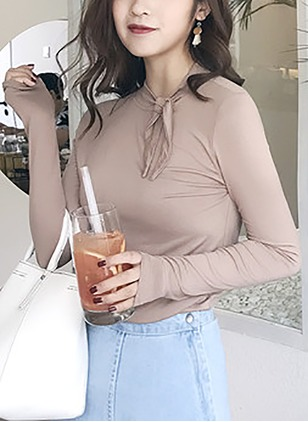 Solid Casual Cotton Round Neckline Long Sleeve Blouses