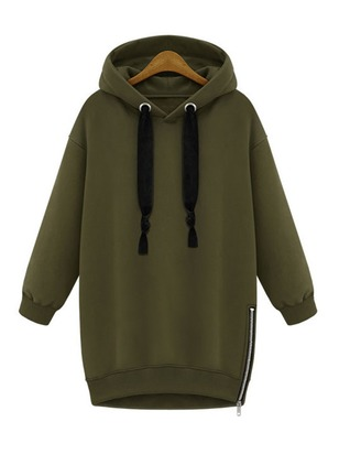 Solid Casual Cotton Hooded Zipper Sweatshirts