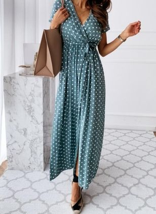 Casual Polka Dot Wrap V-Neckline X-line Dress (4369416)