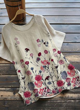 Floral Casual Round Neckline Half Sleeve Blouses (4458413)
