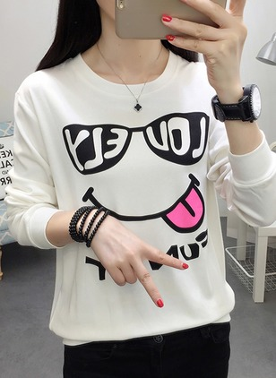 Cotton Alphabet Round Neck Long Sleeve Casual T-shirts