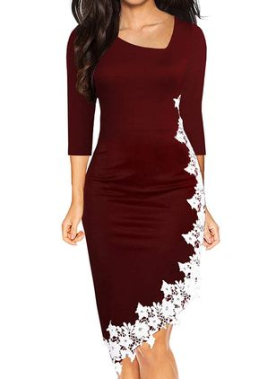 Elegant Floral Pencil V-Neckline Bodycon Dress (120648993)