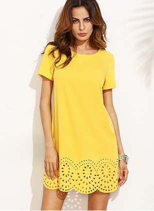 Cotton Solid Short Sleeve Above Knee Dresses