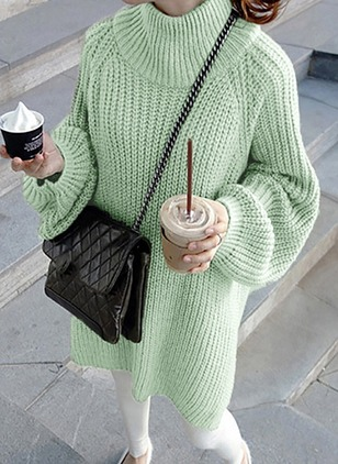 Cotton Round Neckline Solid Loose Long None Sweaters