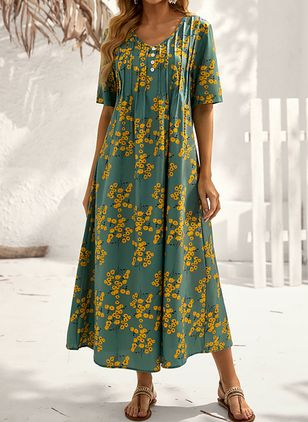 Robes Casual Florale Manches courtes Maxi (146896839)