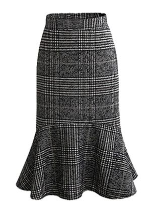 Tartan Knee-Length Sexy Ruffles Skirts