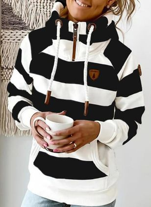 Color Block Casual High Neckline Pockets Zipper Sweatshirts (146747074)