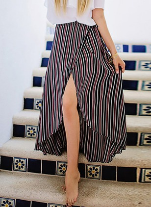 Polyester Stripe Mid-Calf Vintage Skirts