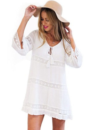 Linen Solid 3/4 Sleeves Above Knee Dresses