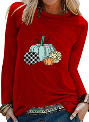 Color Block Round Neck Long Sleeve Halloween T-shirts (109556775)