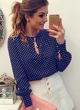 Polka Dot Casual Round Neckline Long Sleeve Blouses